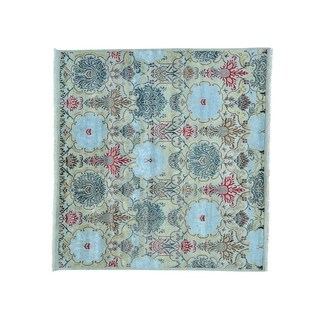 Square Wool And Viscose from Bamboo Silk Hand Knotted Agra Oriental Rug - 8'7 x 9'