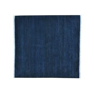 Square Pure Wool Grass Design Gabbeh Handmade Oriental Rug (6' x 6'3)