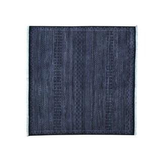 Square Modern Gabbeh Hand Knotted Grass Design Oriental Rug (6' x 6'1)