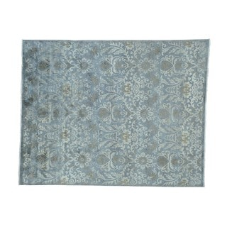 Modern Wool And Silk Damask Tone on Tone Handmade Rug (8' x 9'10)