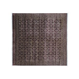 Geometric Design Hand Knotted Tone on Tone Square Rug (8'1 x 8'4)