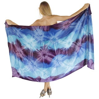 La Leela Gentle Rayon Hand Tie Dye Swirls Cover up Skirt 78X43 Inch Purple
