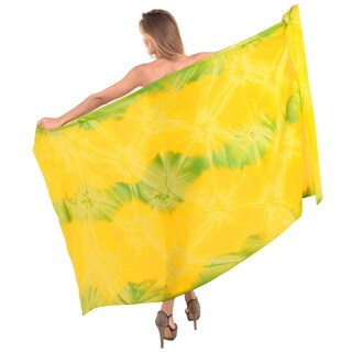 La Leela Gentle Rayon Hand Tie Dye Swirls Cover up Skirt 78X43 Inch Green