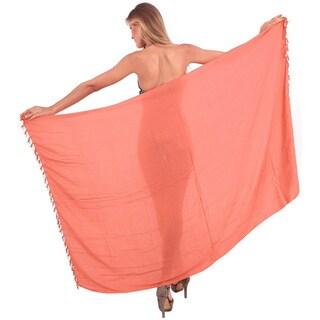 La Leela Smooth Rayon Coverup Sarong Hanging Shells Bikini Skirt 78X43Inch Peach