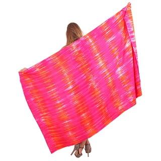 La Leela Soft Rayon Hand Tie Dye Strip Bikini Cover up sarong 78X43Inch Orange
