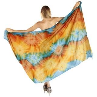 La Leela Beach Swirl Waves Skirt Soft Rayon Cover up Sarong 78X43 Inch Gold