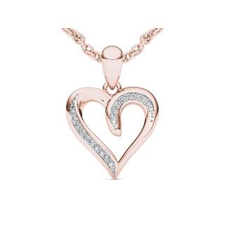 De Couer 10k Rose Gold 1/20ct TDW Diamond Heart Necklace (H-I, I2)