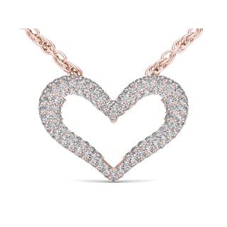 De Couer 10k Rose Gold 1/3ct TDW Diamond Heart Necklace (H-I, I2)