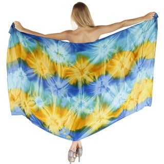 La Leela Beach Swirl Waves Skirt Smooth Rayon Cover up Sarong 78X43 Inch Blue