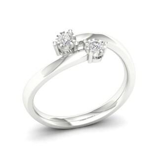 De Couer 10k White Gold 1/6ct TDW Diamond Two-Stone Ring (H-I, I2)