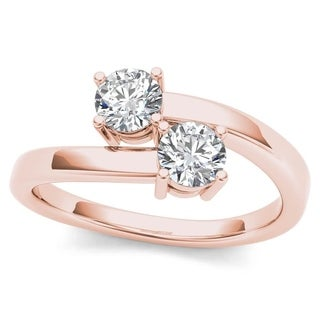 De Couer 10k Rose Gold 1/6ct TDW Diamond Two-Stone Ring (H-I, I2)