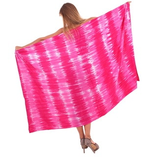 La Leela Soft Rayon Hand Tie Dye Stripes Bikini Cover up sarong 78X43 Inch Pink