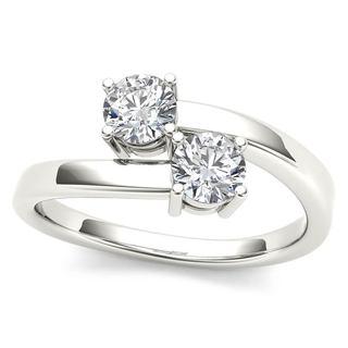 De Couer 10k White Gold 1/4ct TDW Diamond Two-Stone Ring (H-I, I2)