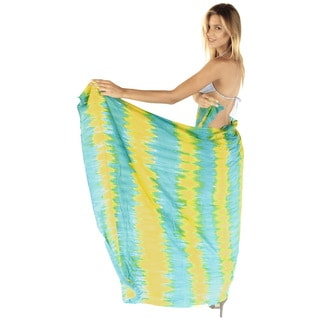 La Leela Soft Rayon Vertical Tie Dye Stripes Cover up Sarong 78X43Inch Turquoise