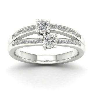De Couer 14k White Gold 1/4ct TDW Diamond Two-Stone Ring (H-I, I2)