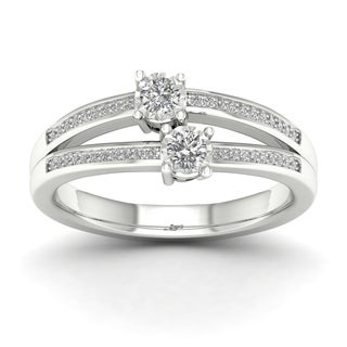 De Couer 14k White Gold 1/4ct TDW Diamond Two-Stone Ring