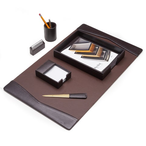Brown Leather 6 pc Desk Set