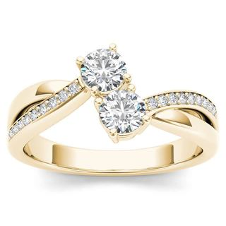 De Couer 14k Yellow Gold 1/4ct TDW Diamond Two-Stone Ring (H-I, I2)