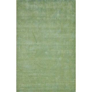 Solids/ Handloom Solid Pattern Aruba Blue/ Wild Lime Area Rug (5' x 8')