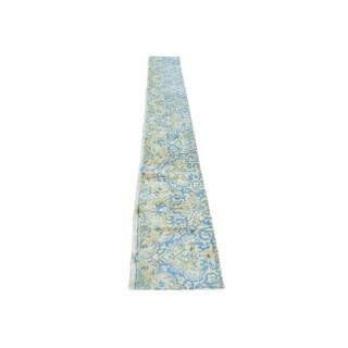 Pure Wool Runner Semi Antique Persian Kerman Fragment Rug (1'4 x 11'4)