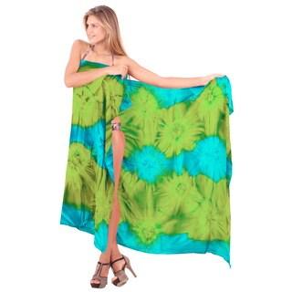 La Leela Rayon Gentle Hand Tie Dye Swirls Cover up Skirt 78X43 Inch Turquoise