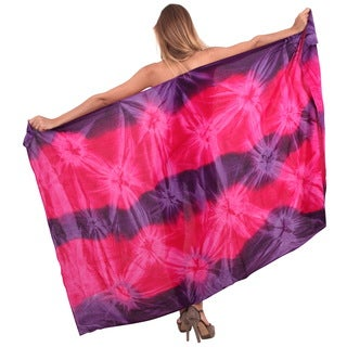 La Leela Rayon Gentle Hand Tie Dye Swirls Cover up Skirt 78X43 Inch Pink