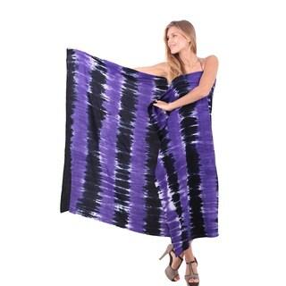 La Leela Soft Rayon Hand Tie Dye Strip Bikini Cover up sarong 78X43 Inch Black