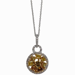 Kabella 18k Two-tone Gold 4/5ct TDW Multi-color Diamond Pendant (G-H, SI1-SI2)