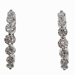 Kabella 14k White Gold 1ct TDW Diamond Hoop Earrings