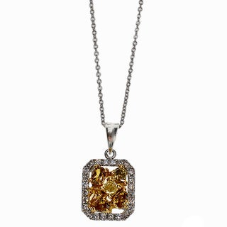 Kabella 18k Two-tone Gold 5/8ct TDW Multi-colored Diamond Pendant (G-H, SI1-SI2)