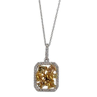 Kabella 18k White Gold 1ct TDW Multi-colored Diamond Pendant (G-H, SI1-SI2)