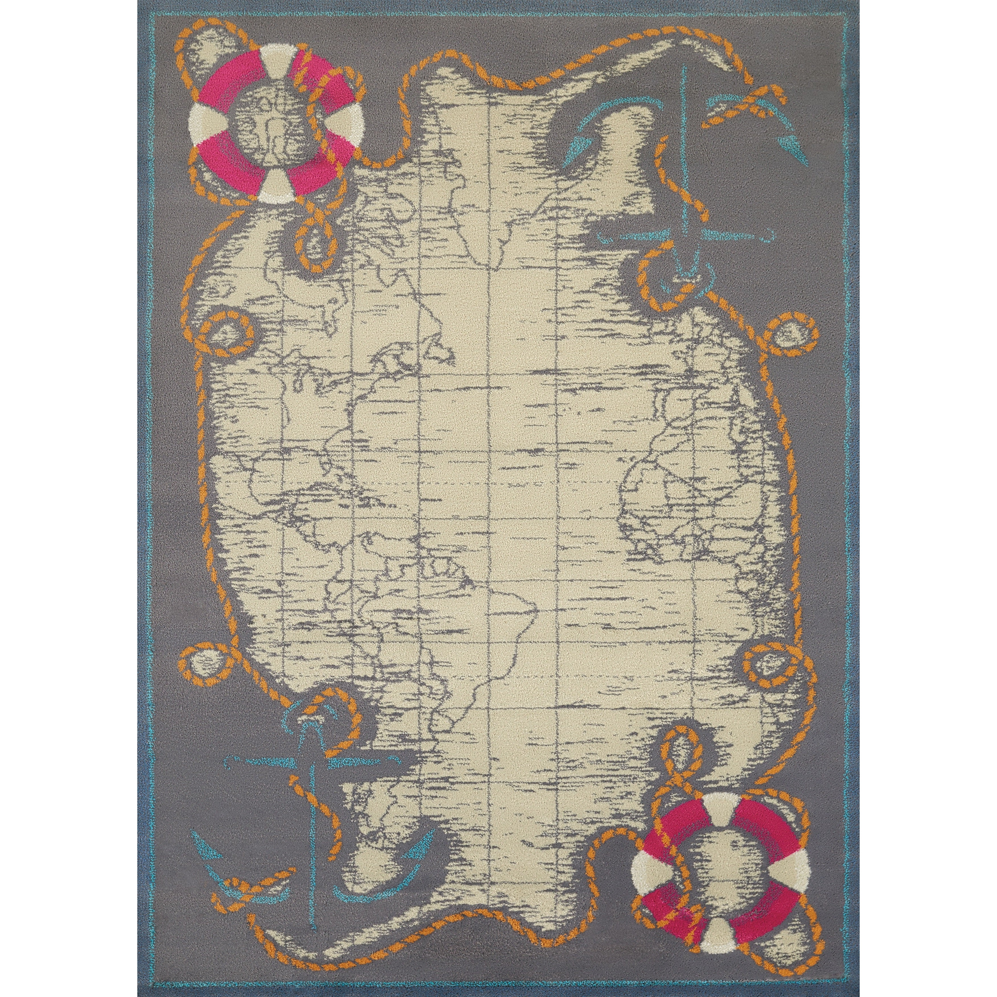 United Islander Tropical Map Accent Rug (1'10 x 3') (1 ft...