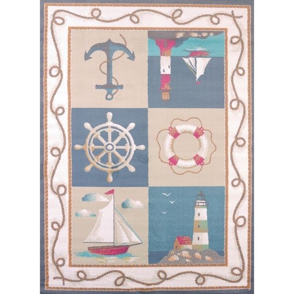 Shop Islander Lighthouse And Anchors Area Rug