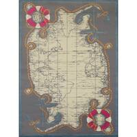 Islander Tropical Map Area Rug - 5'3 x 7'2