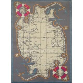 Islander Tropical Map Area Rug - 5'3 x 7'2