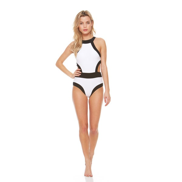 d7c0b44d5d Shop Bra Society Luxe Retro One Piece Swimsuit in Black and White ...