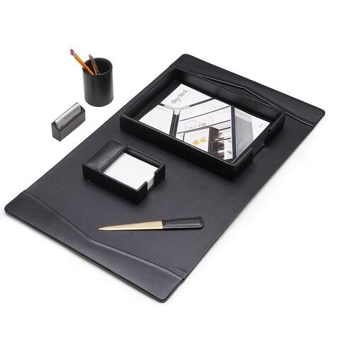 Black Leather 6 pc Desk Set