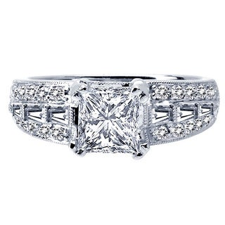18k White Gold 5/8ct TDW Diamond and Cubic Zirconia Semi-mount Engagement Ring