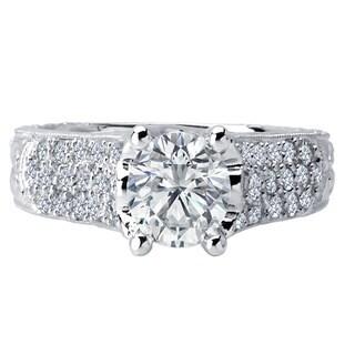 18k White Gold 3/8ct TDW Diamond and Cubic Zirconia Center Stone Engagement Ring (F-G, VS1-VS2)