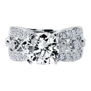 18k White Gold 3/4ct TDW Diamond and Cubic Zirconia Semi Mount Engagement Ring (F-G, VS1-VS2)