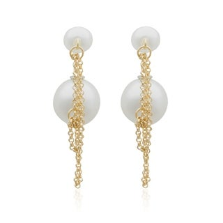 Pearlyta 14k Gold over Silver Shell Pearl Chain Earrings (8-16mm)
