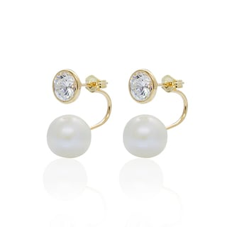 Pearlyta 14k Gold Bezel-set Cubic Zirconia Freshwater Pearl Fashion Tribal Earrings (6-9mm)