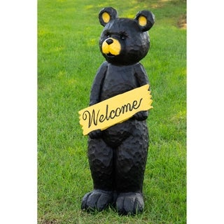 47-inch Black Bear Holding Welcome Sign Statuary