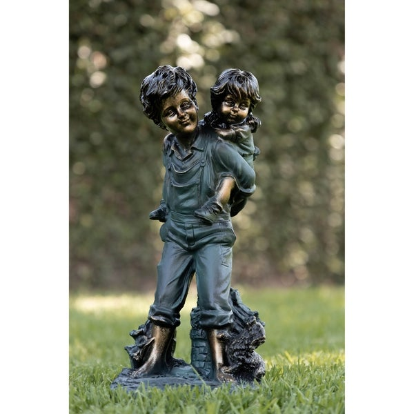 Alpine Boy Giving Piggyback Ride Statuary, 16 Inch Tall