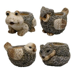 Owl, Frog, Bird, and Fox Animal Planters (Assorted Pack of 4)