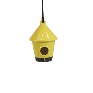 10-inch Yellow Hanging Ceramic Birdhouse