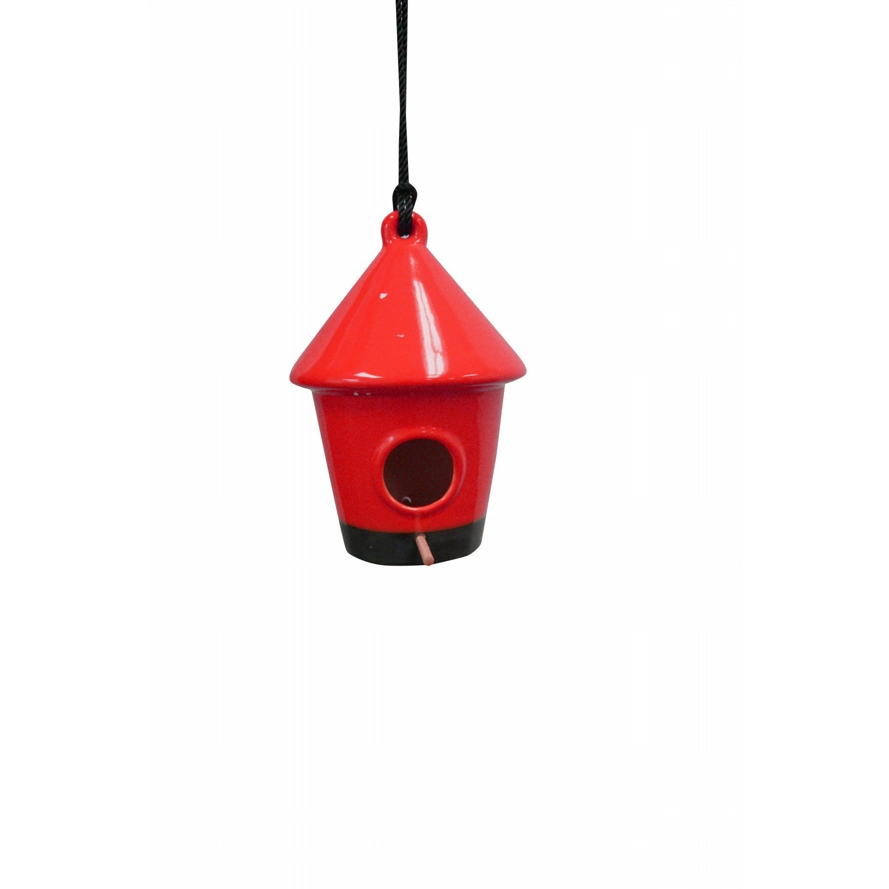 Alpine 10-inch Hanging Red Birdhouse (Red) (Ceramic), Out...