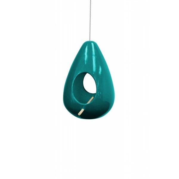 10-inch Hanging Turquoise Teardrop Shape Birdhouse