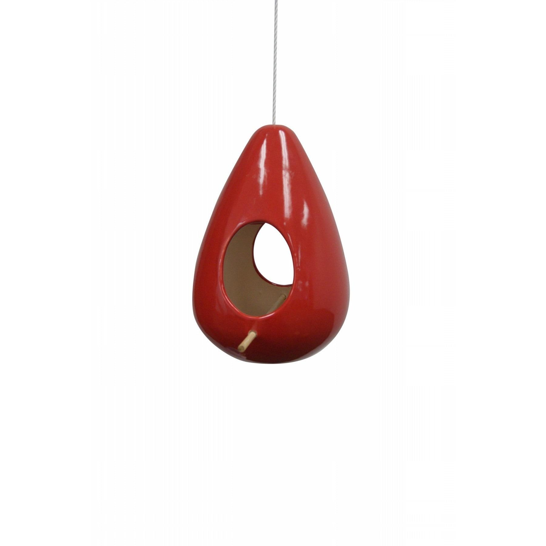 Alpine 10-inch Hanging Red Teardrop Shape Birdhouse (Red)...