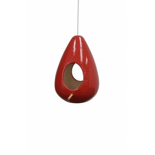 10-inch Hanging Red Teardrop Shape Birdhouse